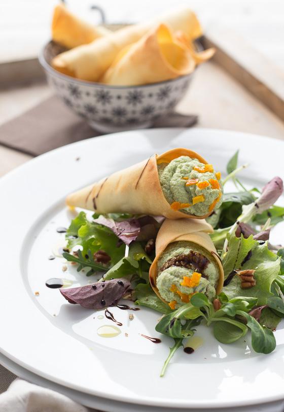 LatoKitchen.ricetta vegan.Coni di ceci, tofu e broccoli